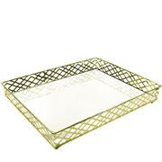 Bandeja metal dourada squares espelhada 31x24.5x05 cm