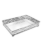 Bandeja em metal Squares prata 27x19x5 cm