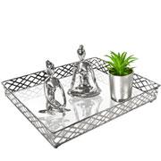 Bandeja metal prata squares espelhada 31x24.5x05 cm
