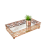 Bandeja metal cobre squares espelhada 24x13x05 cm
