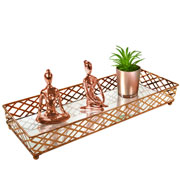 Bandeja metal cobre squares espelhada 35x13x05 cm