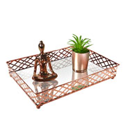 Bandeja metal cobre squares espelhada 27x19x05 cm