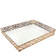 Bandeja metal cobre squares espelhada 31x24.5x05 cm