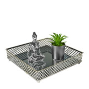 Bandeja metal prata Layers espelhada 21x05 cm