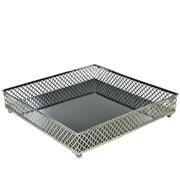Bandeja metal prata Layers espelhada 25x05 cm