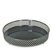 Bandeja metal Prata Layers espelhada 24.5x05 cm