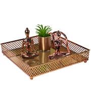 Bandeja metal cobre Layers espelhada 25x05 cm
