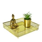 Bandeja metal dourada Layers espelhada 21x05 cm