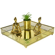 Bandeja metal dourada Layers espelhada 25x05 cm