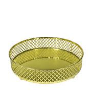 Bandeja metal dourada Layers espelhada 20.5x05 cm