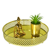 Bandeja metal dourada Layers espelhada 24.5x05 cm