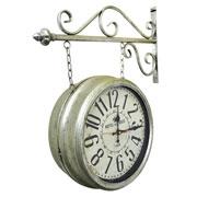 Relógio de estação Hotel Paris prata 35 cm