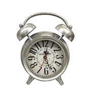Relógio retrô de mesa prata 22x8x24 cm