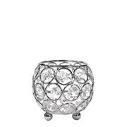 Castiçal de metal cristal prata 8x8x8 cm