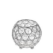 Castiçal de metal cristal prata 10x10 cm