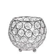 Castiçal de metal cristal prata 12x11 cm