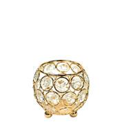 Castiçal de metal cristal dourado 8x8x8 cm