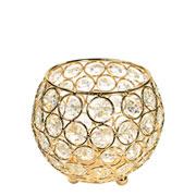 Castiçal de metal cristal dourado 12x11 cm
