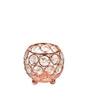 Castiçal de metal cristal cobre 8x8x8 cm