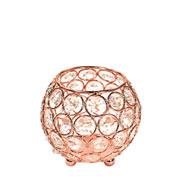 Castiçal de metal cristal cobre 10x10 cm