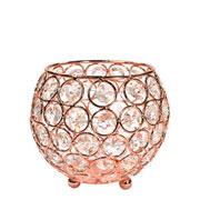 Castiçal de metal cristal cobre 12x11 cm