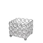 Castiçal de metal cristal prata 9x9x8 cm