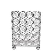 Castiçal de metal cristal prata 9x9x12 cm