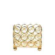 Castiçal de metal cristal dourado 9x9x8 cm