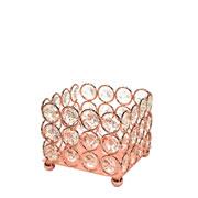 Castiçal de metal cristal cobre 9x9x8 cm
