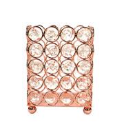 Castiçal de metal cristal cobre 9x9x12 cm