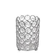 Castiçal de metal cristal prata 8,5x12,5 cm