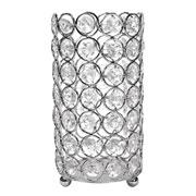 Castiçal de metal cristal prata 8,5x17 cm