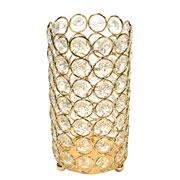 Castiçal de metal cristal dourado 8,5x17 cm