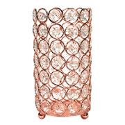 Castiçal de metal cristal cobre 8,5x17 cm