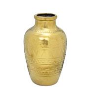 Vaso de cerâmica decorado dourado 34 cm