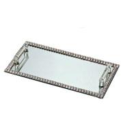 Bandeja espelhada pedraria prata com alça 31x16 cm