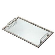 Bandeja espelhada pedraria prata com alça 39x24 cm