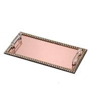 Bandeja espelhada pedraria rose com alça 31x16 cm
