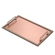 Bandeja espelhada pedraria rose com alça 39x24 cm