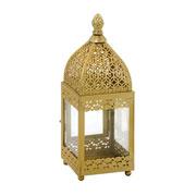 Lanterna em metal/vidro Dourado 25 cm