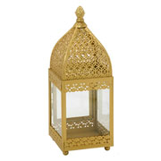 Lanterna em metal/vidro Dourado 30 cm