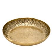 Bandeja de metal decorada coração dourada 35 cm