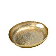 Bandeja de metal bubbles dourada 30 cm