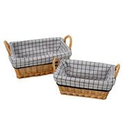 Jogo de cestas retangular quadriculado 02 peças