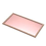 Bandeja espelhada pedraria rose 35x20 cm