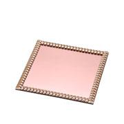 Bandeja espelhada pedraria rose 20x20 cm