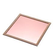 Bandeja espelhada pedraria rose 25x25 cm