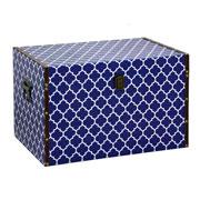 Baú em MDF Branco com azul 50x32x31 cm