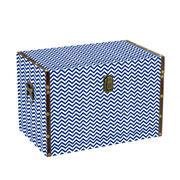 Baú em MDF Branco com azul 40x25x24 cm