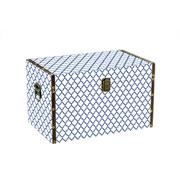 Baú em MDF Branco com azul 32x20x18 cm